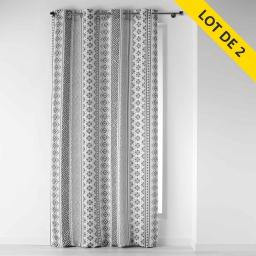 lot de 2 rideaux a oeillets 140 x 260 polyester imprime tribal art