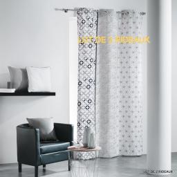 Lot de 2 rideaux a oeillets 140x240 cm coton imprime remix Gris