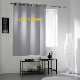Lot de 2 rideaux a oeillets carres 140 x 180 cm occultant uni cocoon Gris clair