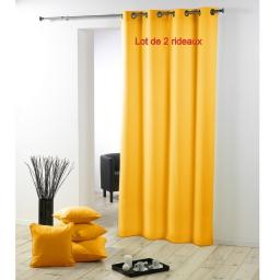 Lot de 2 rideaux a oeillets metal 140 x 280 cm polyester uni essentiel Jaune