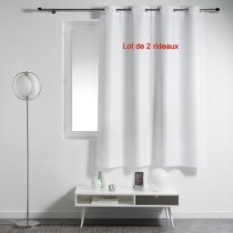 Lot de 2 rideaux a oeillets plastique 140 x 180 cm polyester uni essentiel Blanc