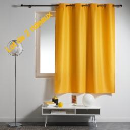 Lot de 2 rideaux a oeillets plastique 140 x 180 cm polyester uni essentiel Jaune
