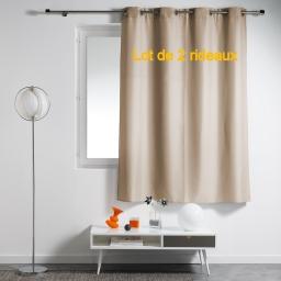 Lot de 2 rideaux a oeillets plastique 140 x 180 cm polyester uni essentiel Lin