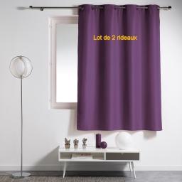 Lot de 2 rideaux a oeillets plastique 140 x 180 cm polyester uni essentiel Prune