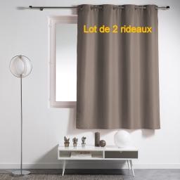 Lot de 2 rideaux a oeillets plastique 140 x 180 cm polyester uni essentiel Taupe