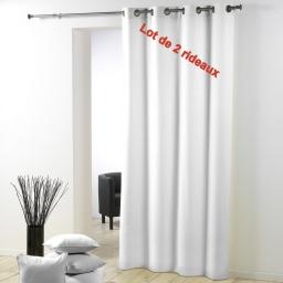Lot de 2 rideaux a oeillets plastique 140 x 260 cm polyester uni essentiel Blanc