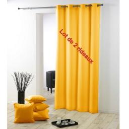 Lot de 2 rideaux a oeillets plastique 140 x 260 cm polyester uni essentiel Jaune