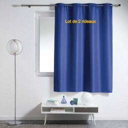 Lot de 2 rideaux a oeillets plastique 140x180 cm polyester uni essentiel Indigo
