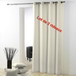 Lot de 2 rideaux a oeillets plastique 140x260 cm polyester uni essentiel Naturel
