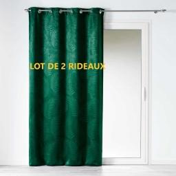 Lot de 2 rideaux occultant 140 x 240 cm tropicaline Emeraude