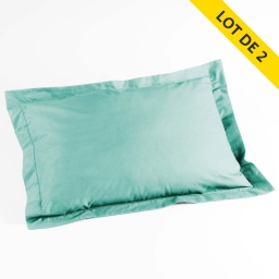 Lot de 2 taies d'oreiller volant plat 50x70 100% coton 57 fils finition point bourdon Menthe