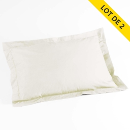 Lot de 2 taies d'oreiller volant plat 50x70 uni 100% coton  57 fils finition point bourdon Naturel