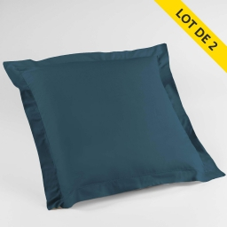 Lot de 2 taies d'oreiller volant plat 63x63 100% coton 57 fils Finition point bourdon  Bleu nuit