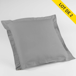 Lot de 2 taies d'oreiller volant plat 63x63 100% coton 57 fils Finition point bourdon Couleur Galet