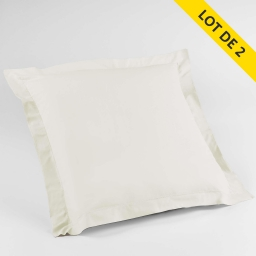 Lot de 2 taies d'oreiller volant plat 63x63 100% coton 57 fils Finition point bourdon Couleur Naturel
