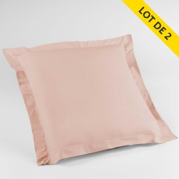 Lot de 2 taies d'oreiller volant plat 63x63 100% coton 57 fils Finition point bourdon Couleur Nude