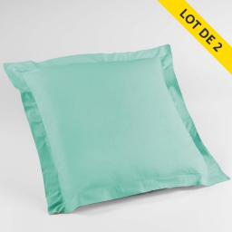 Lot de 2 taies d'oreiller volant plat 63x63 100% coton 57 fils Finition point bourdon Menthe