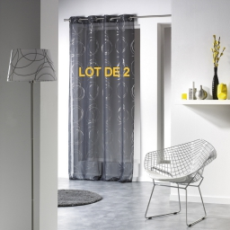Lot de 2 voilages a oeillets 140 x 240 cm voile imprime argent bully Anthracite