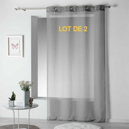 Lot de 2 voilages a oeillets 140 x 240 cm voile sable top pompons poupette Gris