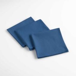 Lot de 3 serviettes de table 40 x 40 cm coton uni aubeline Bleu