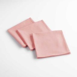 Lot de 3 serviettes de table 40 x 40 cm coton uni aubeline Rose