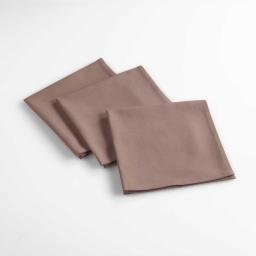 Lot de 3 serviettes de table 40 x 40 cm coton uni aubeline Taupe