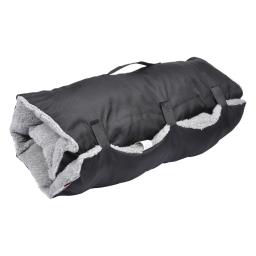matelas de voyage 80*50cm en polyester + sherpa design bicolore noir/gris