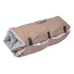 matelas de voyage 80*50cm en polyester + sherpa design bicolore taupe/gris