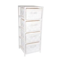 meuble 4 tiroirs bois et papier tressé 32*32*h83cm blanc