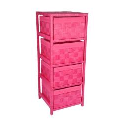 meuble 4 tiroirs bois et papier tressé 32*32*h83cm fuchsia