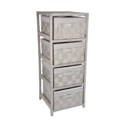 meuble 4 tiroirs bois et papier tressé  32*32*h83cm taupe