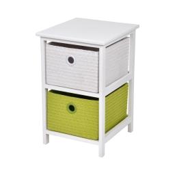 meuble bois paulownia/mdf 2 tiroirs pp tressé 33*37*h53cm trendy vert anis