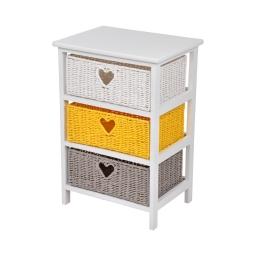meuble bois paulownia/mdf 3 tiroirs papier tresse 40*29*h58cm cosy jaune