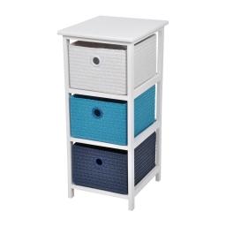 meuble bois paulownia/mdf 3 tiroirs pp tressé 33*37*h74cm trendy bleu