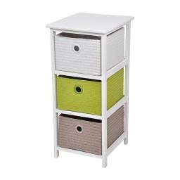 meuble bois paulownia/mdf 3 tiroirs pp tressé 33*37*h74cm trendy vert anis
