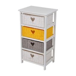 meuble bois paulownia/mdf 4 tiroirs papier tressé 40*29*h73cm cosy jaune