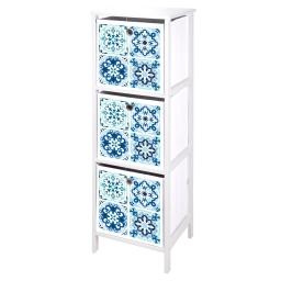 meuble mdf 3 panieres intissé 36*32*h109cm tiles