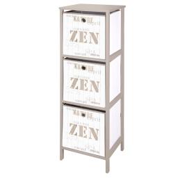 meuble mdf 3 panieres polypropylene intisse 36*32*h109cm zen wood