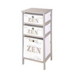 meuble mdf 3 panieres polypropylene intisse 36*32*h76cm zen wood