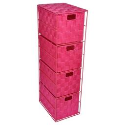 meuble metal 4 tiroirs en pp tressé - 25*18*h.65cm -fuchsia- douceur d'interieur