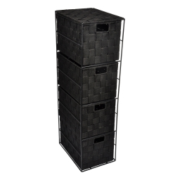 meuble metal 4 tiroirs en pp tressé - 25*18*h.65cm - noir - douceur d'interieur