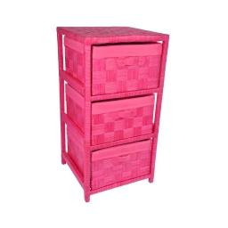 meuble papier 3 panieres 32*32*h.63cm douceur d'interieur - coloris fuchsia