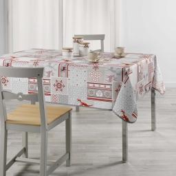 Nappe anti tache 150 x 240 cm imprime aspen Rouge