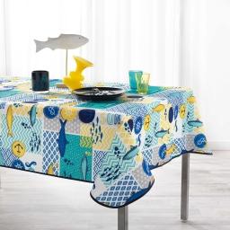 Nappe anti tache 150 x 240 cm polyester imprime blue lagoon Blanc