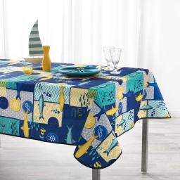 Nappe anti tache 150 x 240 cm polyester imprime blue lagoon Marine
