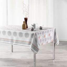 Nappe anti tache 150 x 240 cm polyester imprime oreanis Blanc