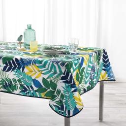 Nappe anti tache 150 x 240 cm polyester imprime palma Blanc