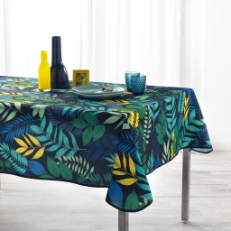 Nappe anti tache 150 x 240 cm polyester imprime palma Marine