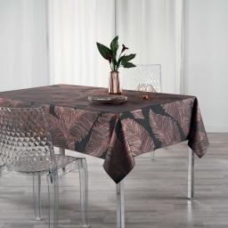 Nappe anti tache 150 x 300 cm imprimé metallise veggy Anthracite/or Rose