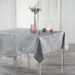 Nappe anti tache 150 x 300 cm imprime metallise veggy Gris/argent